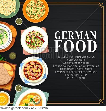 German Cuisine Food, Germany Traditional Dishes And National Meals Menu, Vector. German Food And Res