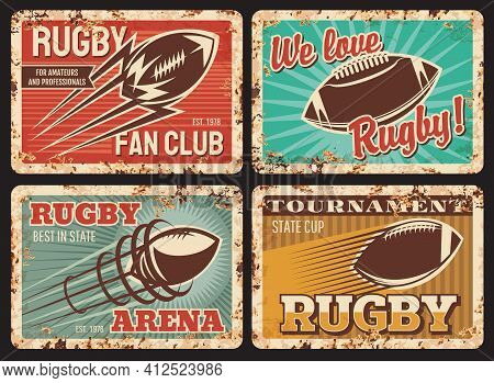 Rugby Rusty Metal Plates, Vector Vintage Cards With Ball In Motion And Trail. American Football Spor