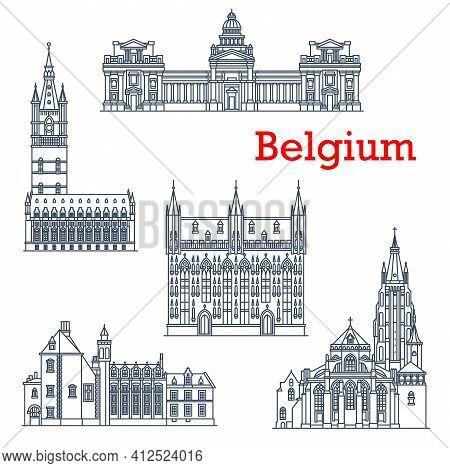 Belgium Architecture Landmarks, Bruges Cathedrals, Vector Brussels Buildings Line Icons. Bruxelles J