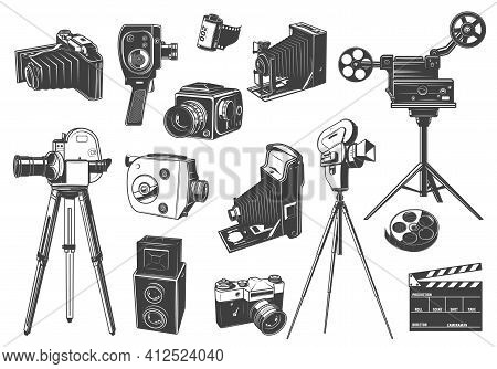 Retro Photo And Movie Cameras, Cinema Projector Icons. Home Movie, Full And Medium Format Photo Came