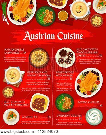 Austrian Cuisine Vector Menu Template Crescent Cookies, Potato Cheese Dumplings, Beef Stew With Mash