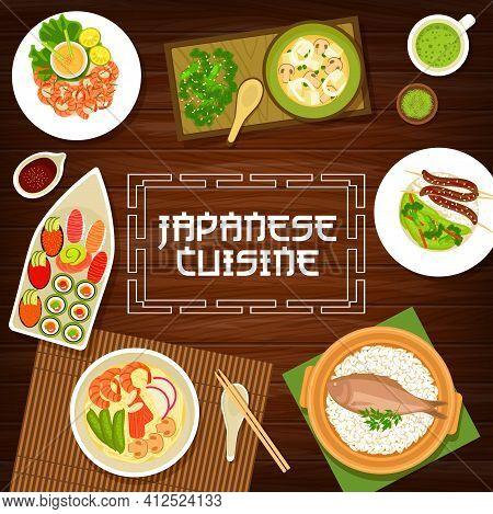 Japan Food, Japanese Cuisine Menu, Noodles Ramen And Sushi, Vector Restaurant Dishes. Japanese Cuisi