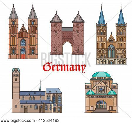 Germany Landmark Buildings And Cathedrals, German Travel Architecture Vector Icons. Dortmund And Kle
