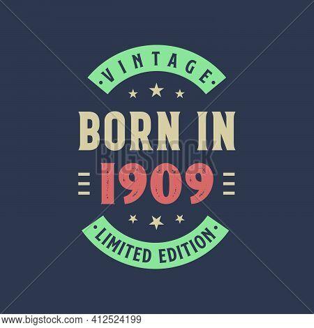 Vintage Born In 1909, Born In 1909 Retro Vintage Birthday Design