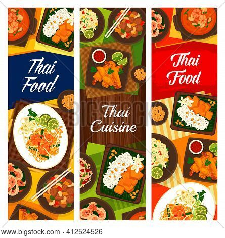 Thai Cuisine Vector Shrimp Noodles Pad Thai, Cashew Chicken Gai Pad Med Mamuang, Green Papaya Salad