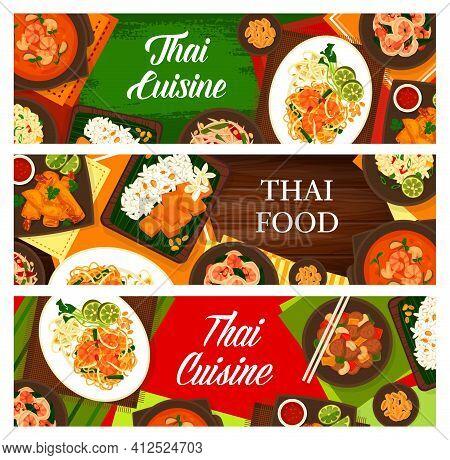 Thai Cuisine Vector Sweet Rice With Mango Khao Niaow Ma Muang, Cashew Chicken Gai Pad Med Mamuang, A