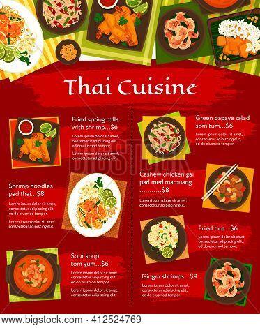 Thai Cuisine Vector Menu Gai Pad Med Mamuang, Green Papaya Salad Som Tum And Sweet Rice With Mango K