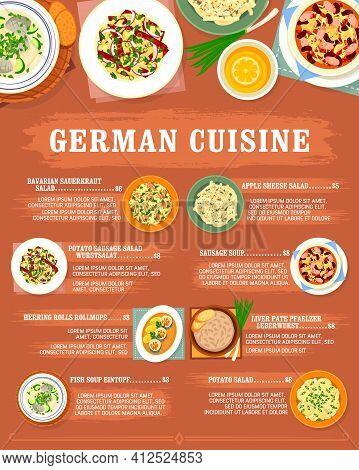 German Cuisine Menu And Germany Restaurant Food Dishes, Vector. German Cuisine Food, Traditional Bav