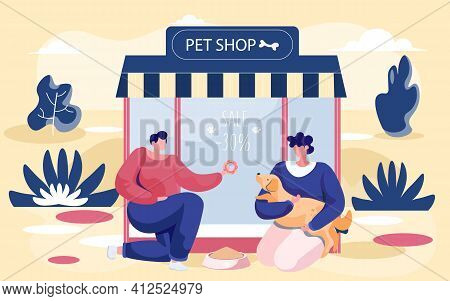 Pet Shop Concept, Awning With Big Window, Animal Accessories Store Indoors Flat Vector Illustration