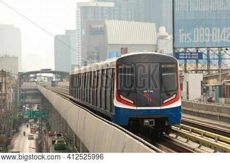 Bangkok Thailand , March 02 , 2021 : The Popular Bts Mass Transit System For People Of Bangkok, Thai