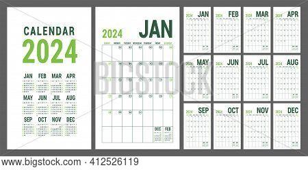 Calendar Planner 2024. English Calender Green Template. Vector Grid. Office Business Planning. Creat