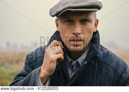 Portrait Of Young Male Peasant Close-up Portrait