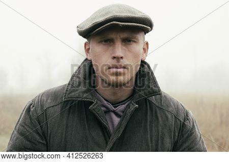 Serious Poor Man Portrait Closeup A Young Peasant