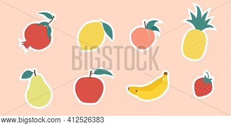 Colorful Juicy Fruits Sticker Collection. Hand Drawn Fruit Doodles Set. Pomegranate, Lemon, Peach, P
