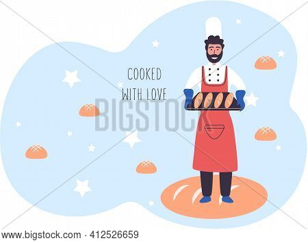 Family Bakery With Happy Bearded Man Baker Holding Tray Of Baguettes. Bread Merchant With Long Loaf