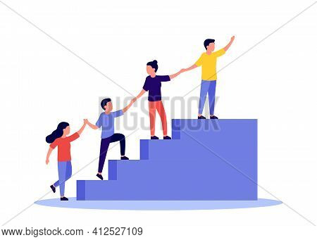 Team Of People Is United By Aspiration And Achievement Together Up Stairs. Business Support And Help