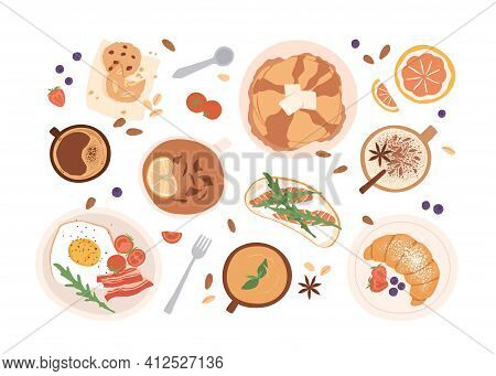 Top View Of Breakfast Food And Drinks Isolated On White Background. Set Of Meals For Brunch Or Lunch