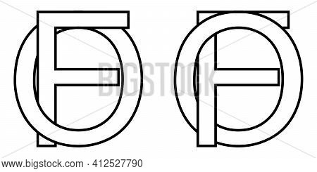 Logo Sign Fo, Of Icon Sign Interlaced Letters O, F Vector Logo Of, Fo First Capital Letters Pattern