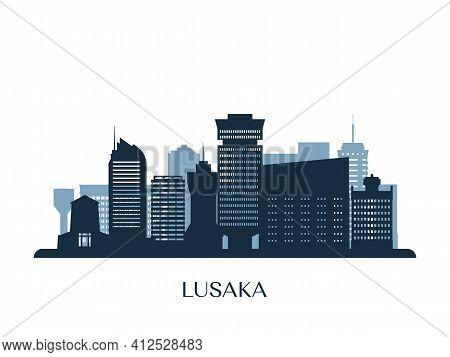 Lusaka Skyline, Monochrome Silhouette. Design Vector Illustration.