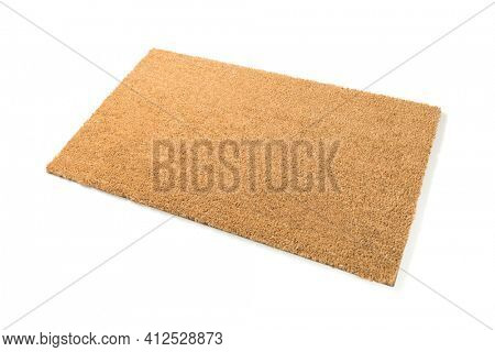 Blank Welcome Mat Isolated on White Background.