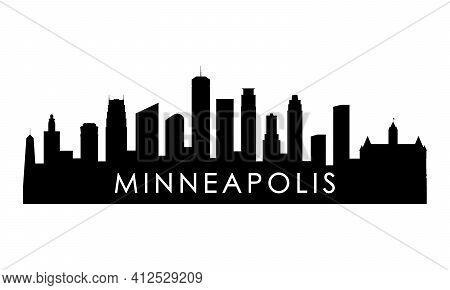 Minneapolis Skyline Silhouette. Black Minneapolis City Design Isolated On White Background.
