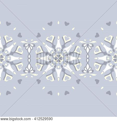 Seamless Pattern. Mandala With Hearts And Candles. Pastel Blue Jean Color, Pale Yellow And White. Pa