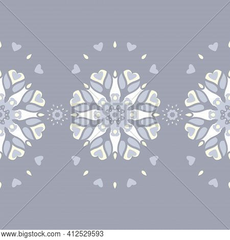 Seamless Pattern. Mandala With Hearts, Candles And Flowers. Blue Jean Color, Pale Yellow And White.