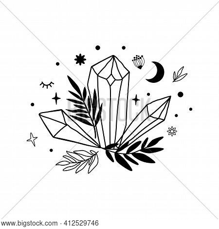 Crystal Moon Drawing. Cute Astrology Crystals, Stars Leaves. Mystical Tshirt Print. Magic Celestial