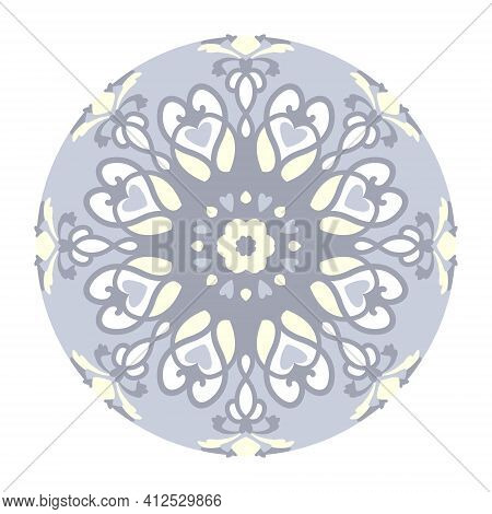 Mandala With Hearts. Pattern. Pastel Blue Jean Color , Pale Yellow And White. Pastel Colors. Transpa