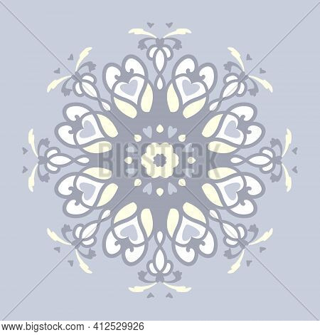 Pattern. Mandala With Hearts. Pastel Blue Jean Color, Pale Yellow And White. Pastel Colors. Vector.