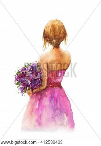 Girl with bouquet of flowers isolated watercolor illustration. Young woman in pink dress hand drawn. Girl with blonde hair on white background. Bouquet of lilac flowers watercolor