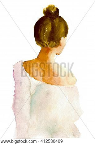 Girl in white dress isolated watercolor illustration. Girl in cosy sweater watercolor. Young woman in sweater hand drawn. Girl with blonde hair on white background