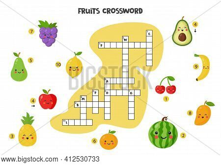 Fruits Crossword Puzzle For Kids. Cute Smiling Fruits. Educational Game For Children.