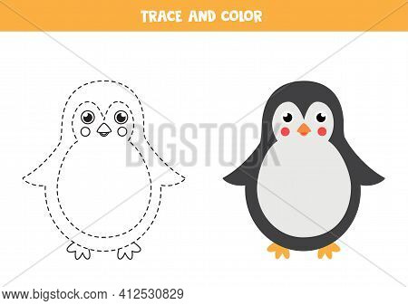 Trace And Color Cute Penguin. Educational Game For Kids. Writing And Coloring Practice.