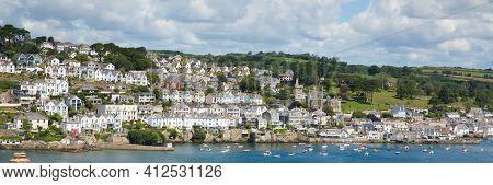 Fowey Cornwall England Panoramic View Of Beautiful Cornish Coast Town