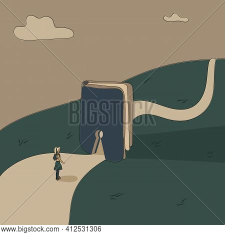 Concept: Book Is Source Of Knowledge.tiny Girl Stand On Wide Road In Front Keyhole Entrance In Book
