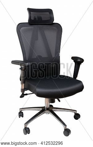 Closeup Of A Black Comfortable Office Or Computer Swiwel Chair Isolated On White Background. Clippin