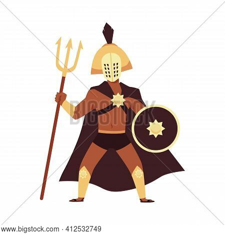 Greek Or Roman Soldier Or Gladiator In Armour Flat Vector Illustration Isolated.