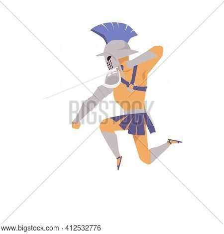 Ancient Roman Or Greek Gladiator In Armour Flat Vector Illustration Isolated.