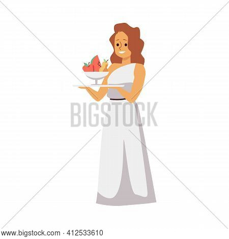 Young Beautiful Woman Ancient Roman Or Greek Era A Vector Isolated Illustration.
