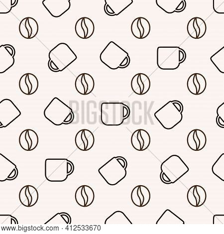 Seamless Pattern Of Coffee Beans And Coffee Cups For The Coffee Shop Background. Decoration Cafe, Pl