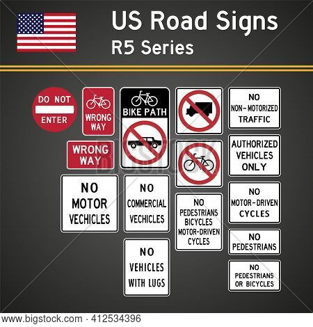Vector Set Of Realistic R5 Series Road Signs In The Usa. Forbidding Signs
