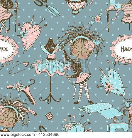 .seamless Pattern With Cute Little Black-skinned Dressmaker And Sewing Accessories. Vector.