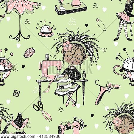 Seamless Pattern With Cute Little Black-skinned Dressmaker And Sewing Accessories. Vector.