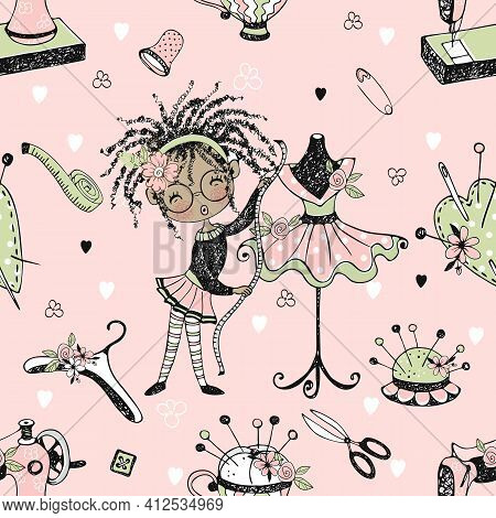Seamless Pattern With Cute Little Black Dressmaker With Sewing Mannequins. Vector.