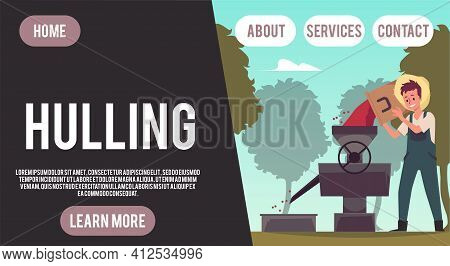 Coffee Hulling Man - Agriculture Harvest Banner With Cartoon Farmer