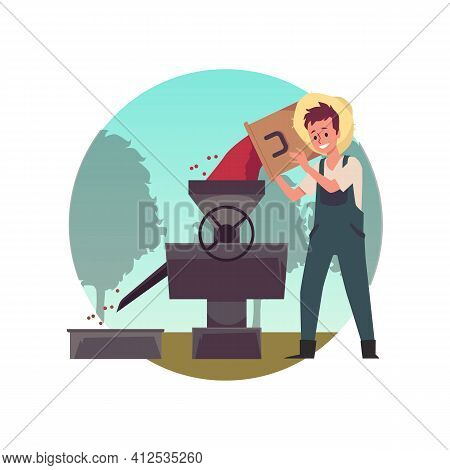 Farmer Is Hulling Coffee Beans Using Production Equipment A Vector Illustration.