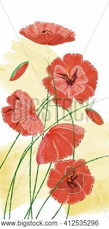 Red Wild Poppies On The Field. Watercolor Illustration, Flowers For Memorial Day. Vector