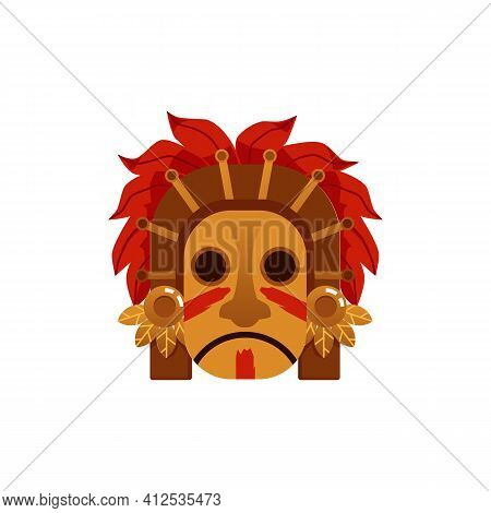 Maya Or Aztec Tribe Symbol - Wooden Mask Of Brown Sad Face