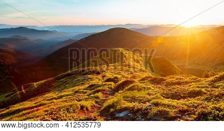 Scenic landscape in summer day with green alpine meadows.  Location place Carpathian mountains, Ukraine, Europe. Vibrant photo wallpaper. Image of exotic landscape. Discover the beauty of earth.